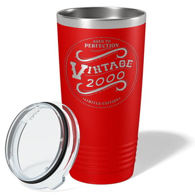 2000 Aged to Perfection Vintage 21st on Red 20 oz Stainless Steel Ringneck Tumbler