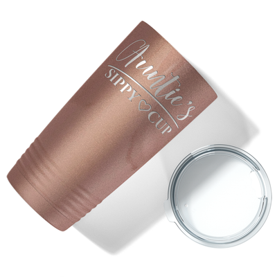 Auntie's Sippy Cup on Rose Gold 20 oz Stainless Steel Ringneck Tumbler