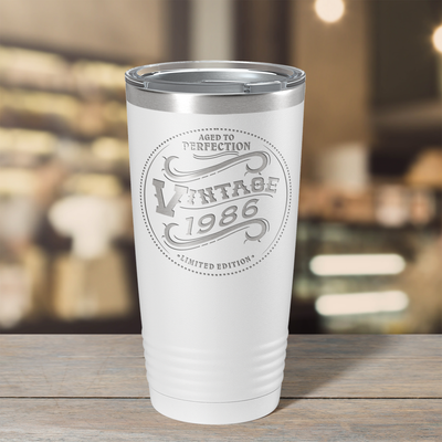 1986 Aged to Perfection Vintage 35th on White 20 oz Stainless Steel Ringneck Tumbler