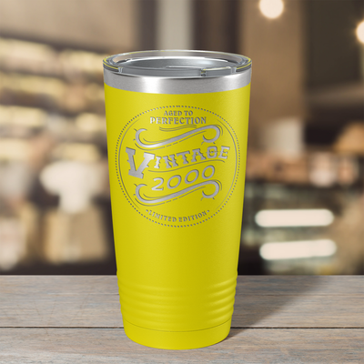2000 Aged to Perfection Vintage 21st on Yellow 20 oz Stainless Steel Ringneck Tumbler