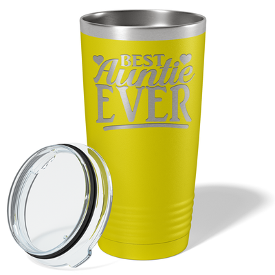 Best Auntie Ever on Yellow 20 oz Stainless Steel Ringneck Tumbler