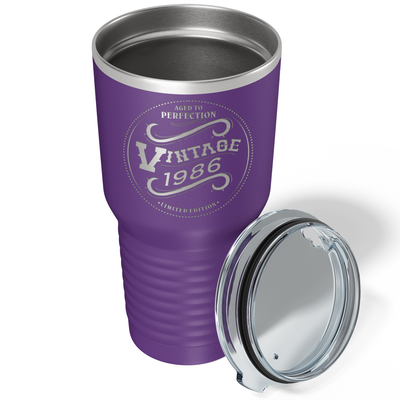 1986 Aged to Perfection Vintage 35th on Purple 30 oz Stainless Steel Ringneck Tumbler