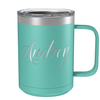 Cuptify Personalized Engraved 15 oz Stainless Steel Coffee Mug - Seafoam