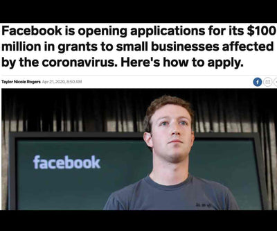 DAY 38, Apr. 23 - Facebook Steps up With $100 Million in Grants