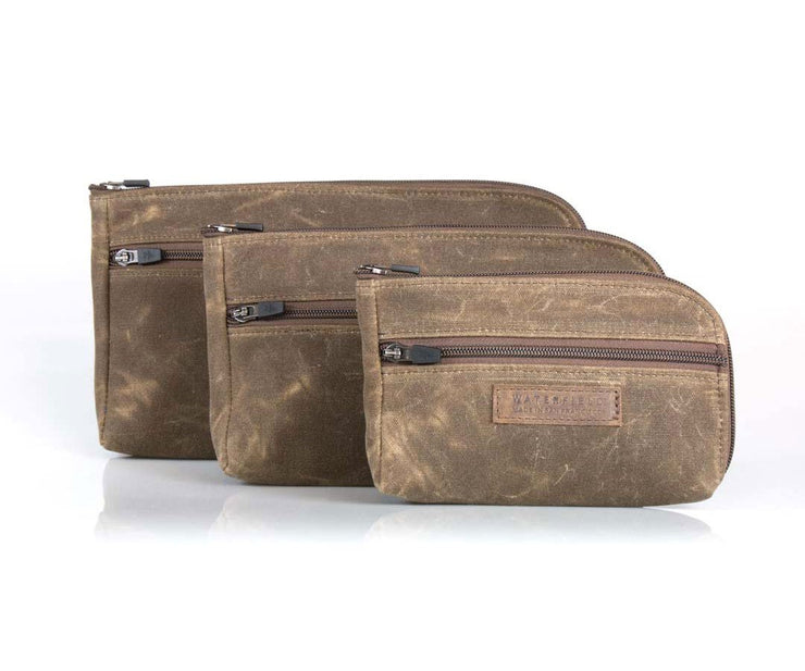 Made of durable Waxed Canvas in three sizes