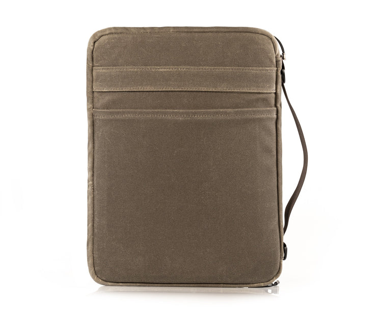Back pocket for documents.  Strap for holding or slipping onto carry-on handles.