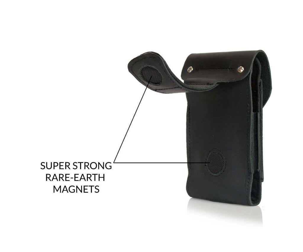 Magnetic leather strip attaches to pants, belts, straps.