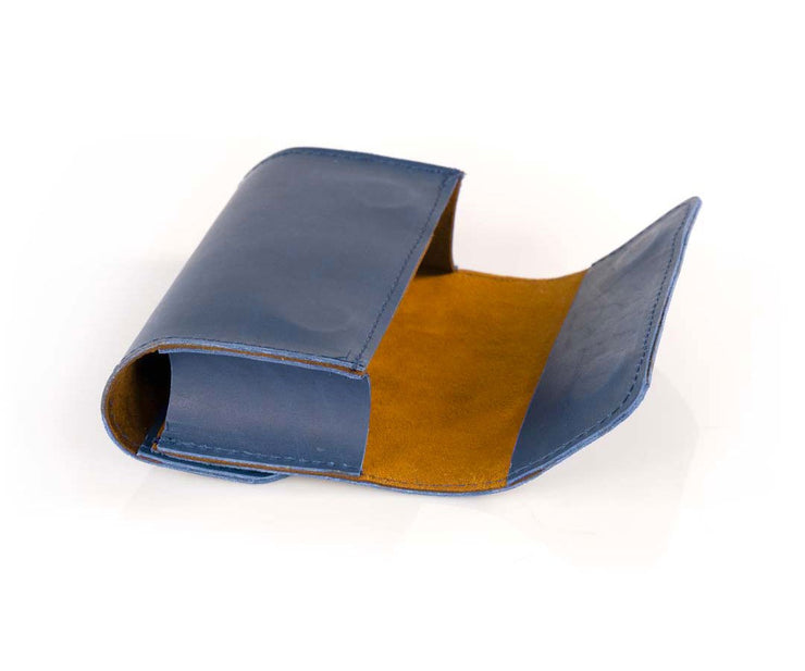 Blue Leather lined in cumin-colored Ultrasuede