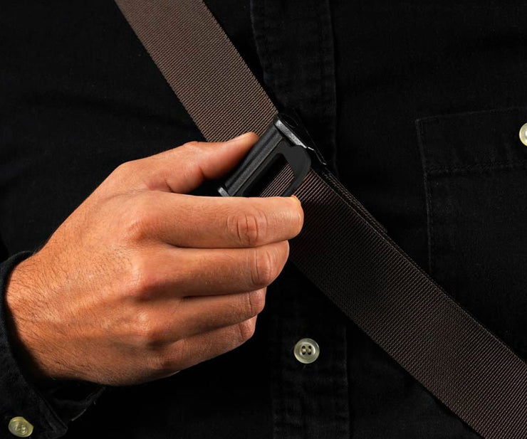 The Sling strap can be adjusted without taking off for a better fit