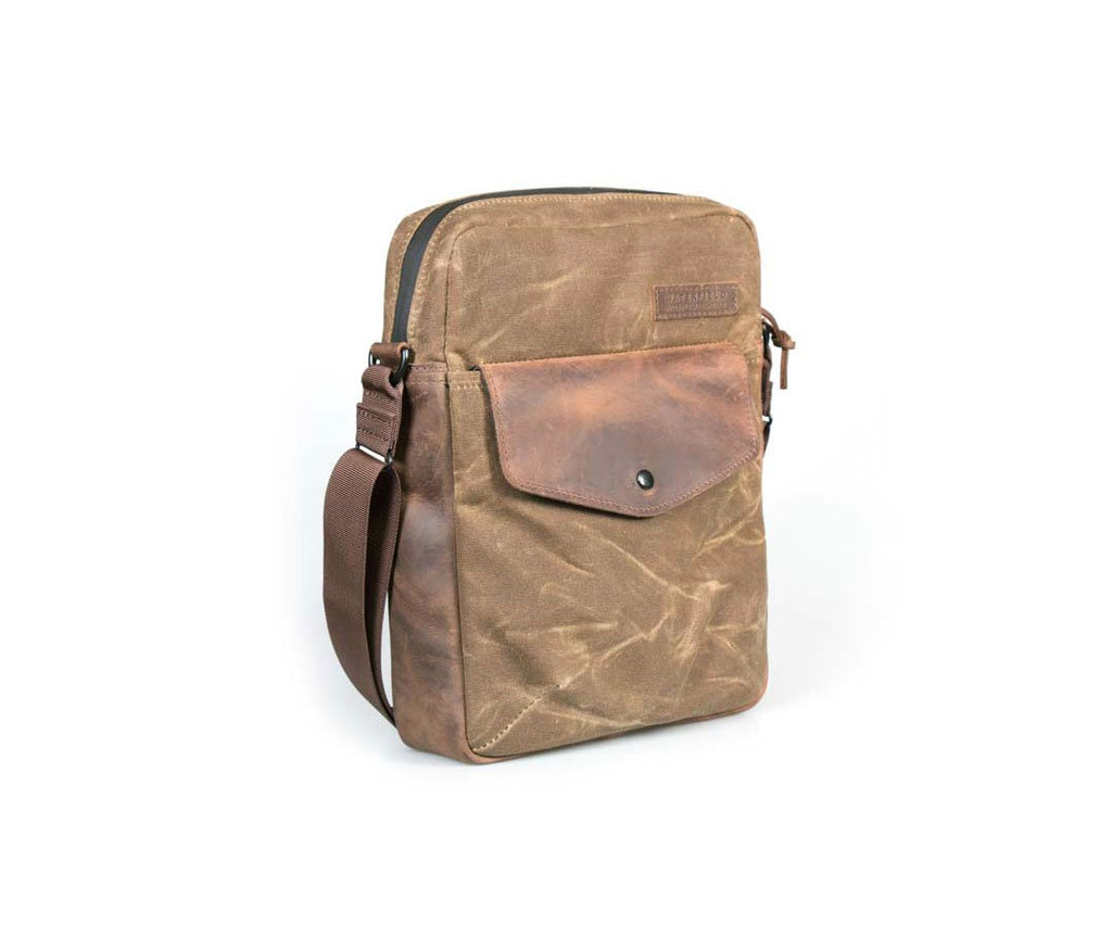 Bolt Crossbody in waxed canvas with chocolate leather