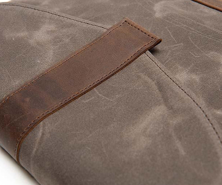 The Waxed Canvas comes with full-grain  leather trim