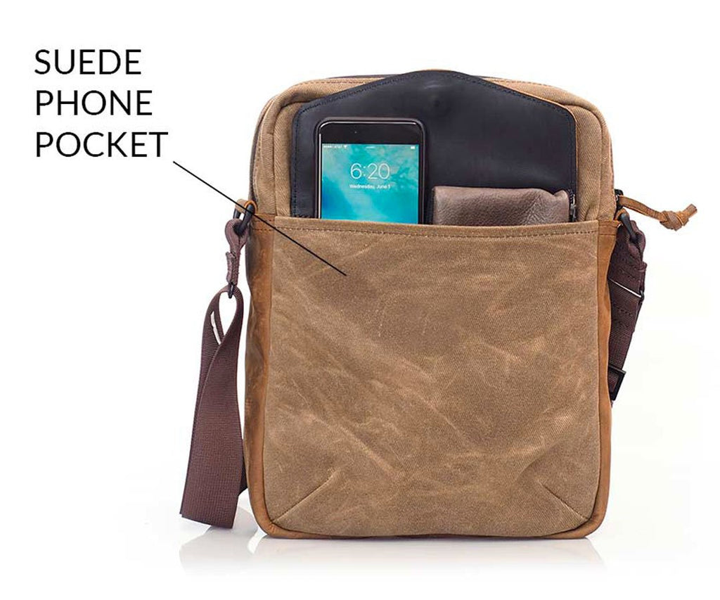 Front: under-the-flap pocket for phone & small items