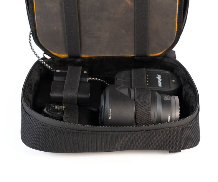 Safely store camera equipment (portable battery not included)