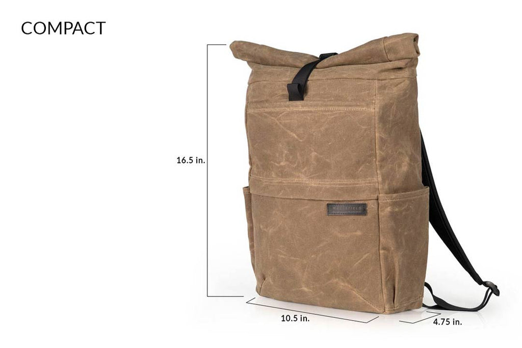 "COMPACT size fits 13"" laptop in external pocket; 15"" in internal pocket"