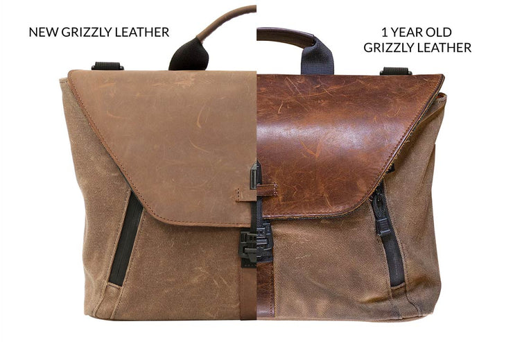 Grizzly leather's beautiful patina (Pictured: Staad Attaché)