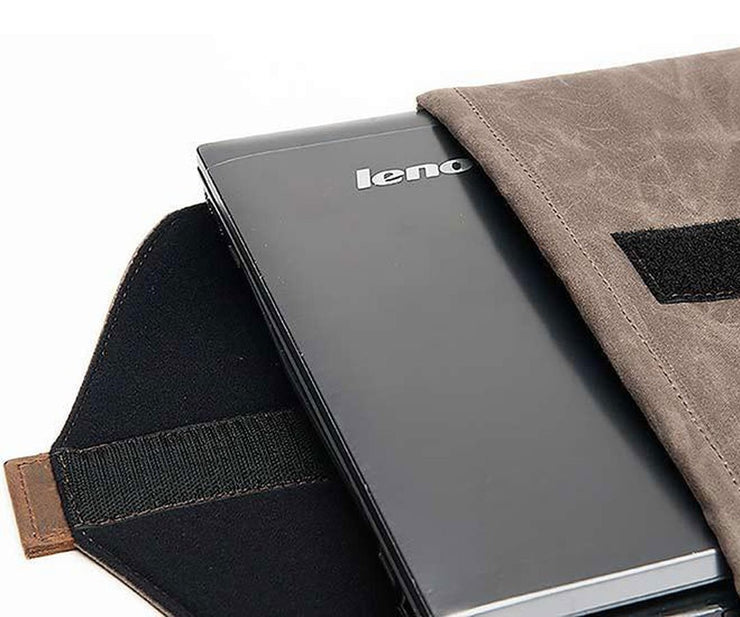 The laptop slips into a neoprenne-protected interior SleeveCase