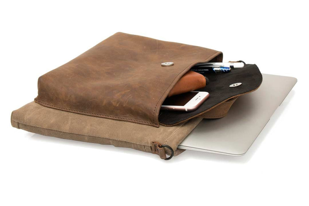 Custom-fit sleeve compartment & lined, premium leather pocket