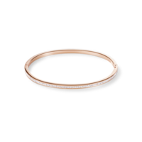 Bangle slim stainless steel rose gold & crystals pavé crystal