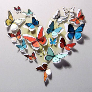 Forever 'push out' 3D sculpture effect Greeting Card - hearth of butterflies