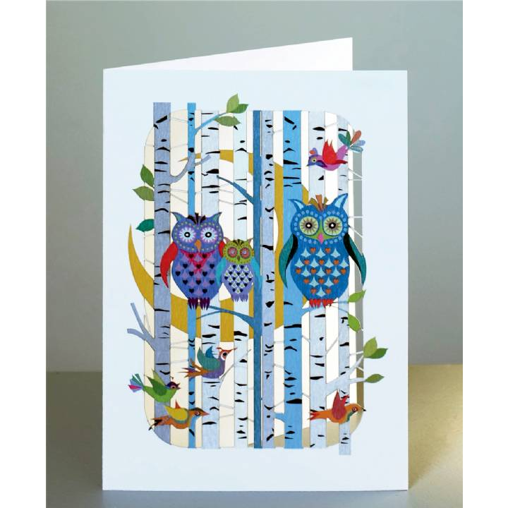 Forever laser cut Greeting Card - Owls in the forest