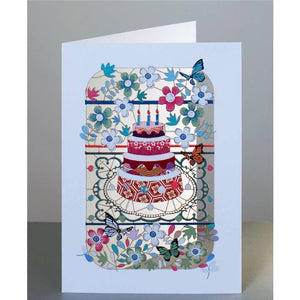 Forever 'laser cut Greeting Card -Birthday cake and flowers