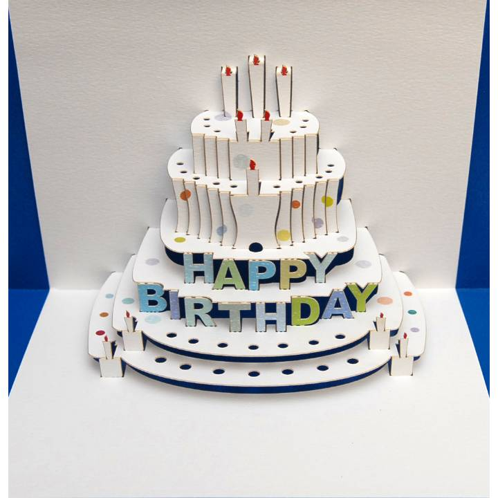 Forever POP UP card happy birthday cake blue