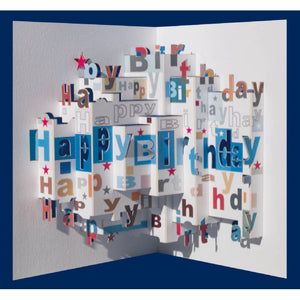 Forever POP UP card happy birthday blue