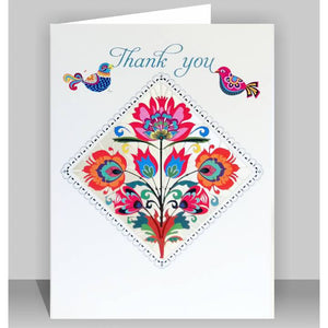 Forever laser cut Greeting Card - thank you flower diamond