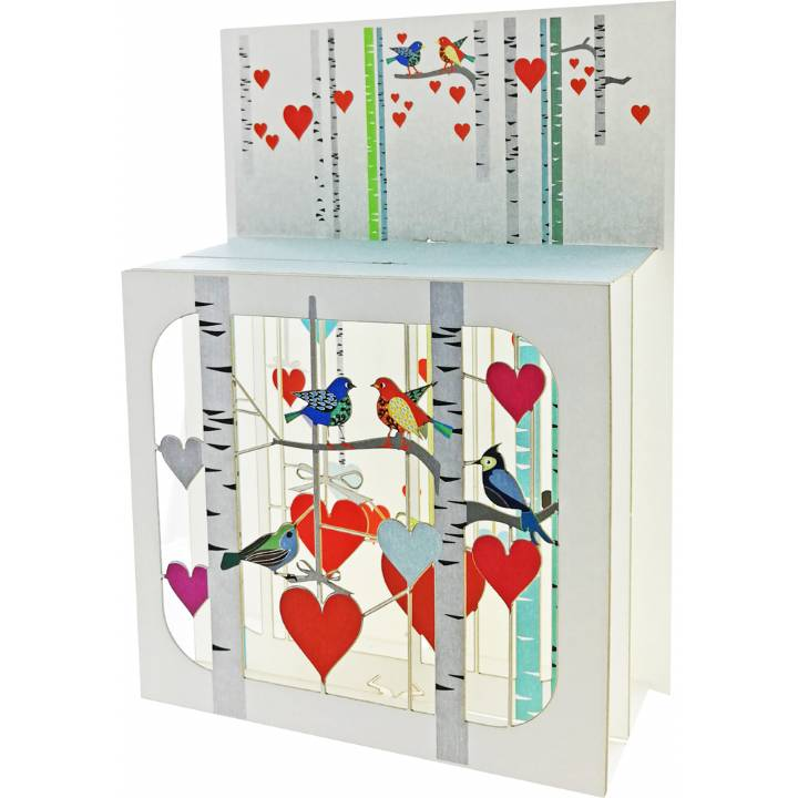 Forever laser cut Magic Box Greeting Card -Woodland Birds & Hearts