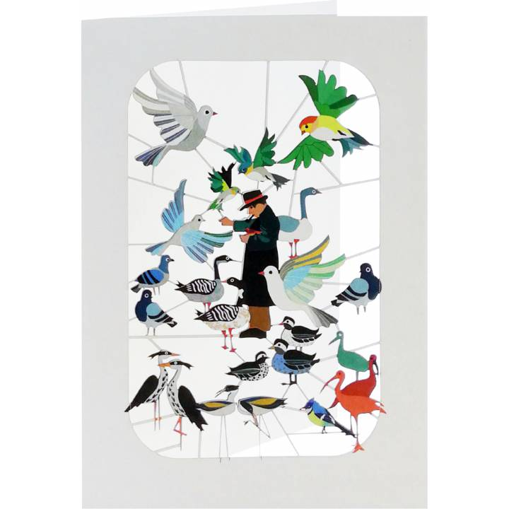 Forever 'laser cut Greeting Card -Man feeding birds