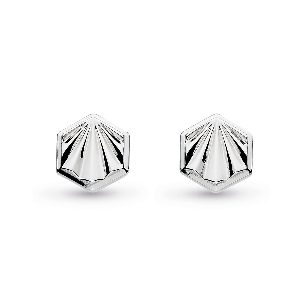 Kit Heath Empire Deco Hexagonal Stud Earrings