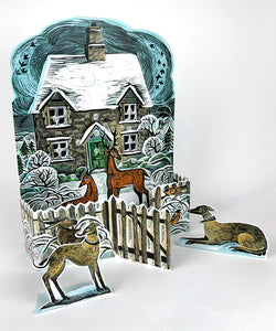 Christmas Cottage Freestanding Advent Calendar by Angela Harding