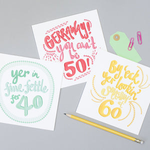 Yorkshire saying Age cards 18 to 70