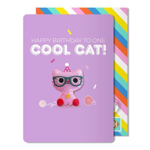 Birthday cool cat magnet card