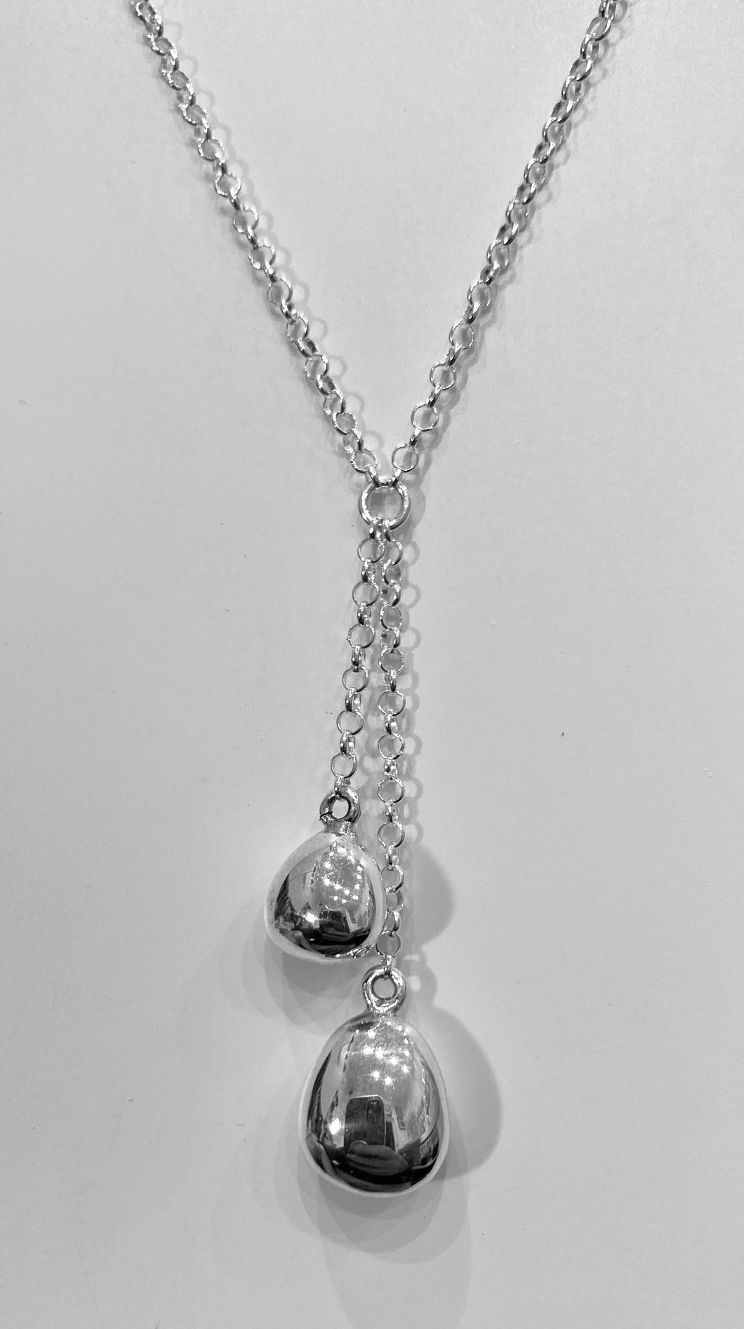 Chris Lewis polished pebbles two pieces drop  necklace