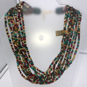 Murano glass Necklace Egyptian multistrantd red green gold