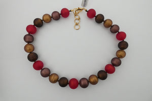 Murano glass Necklace round beads red
