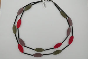 Murano glass Necklace oval beads short red, pink and grey