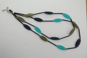 Murano glass Necklace oval beads short turquoise and navy