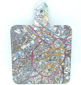 Sheffield city centre map Paddle style chopping Board