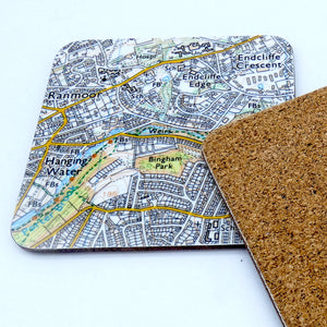 Sheffield map coasters Sharrowvale/botanical gardens set of 2