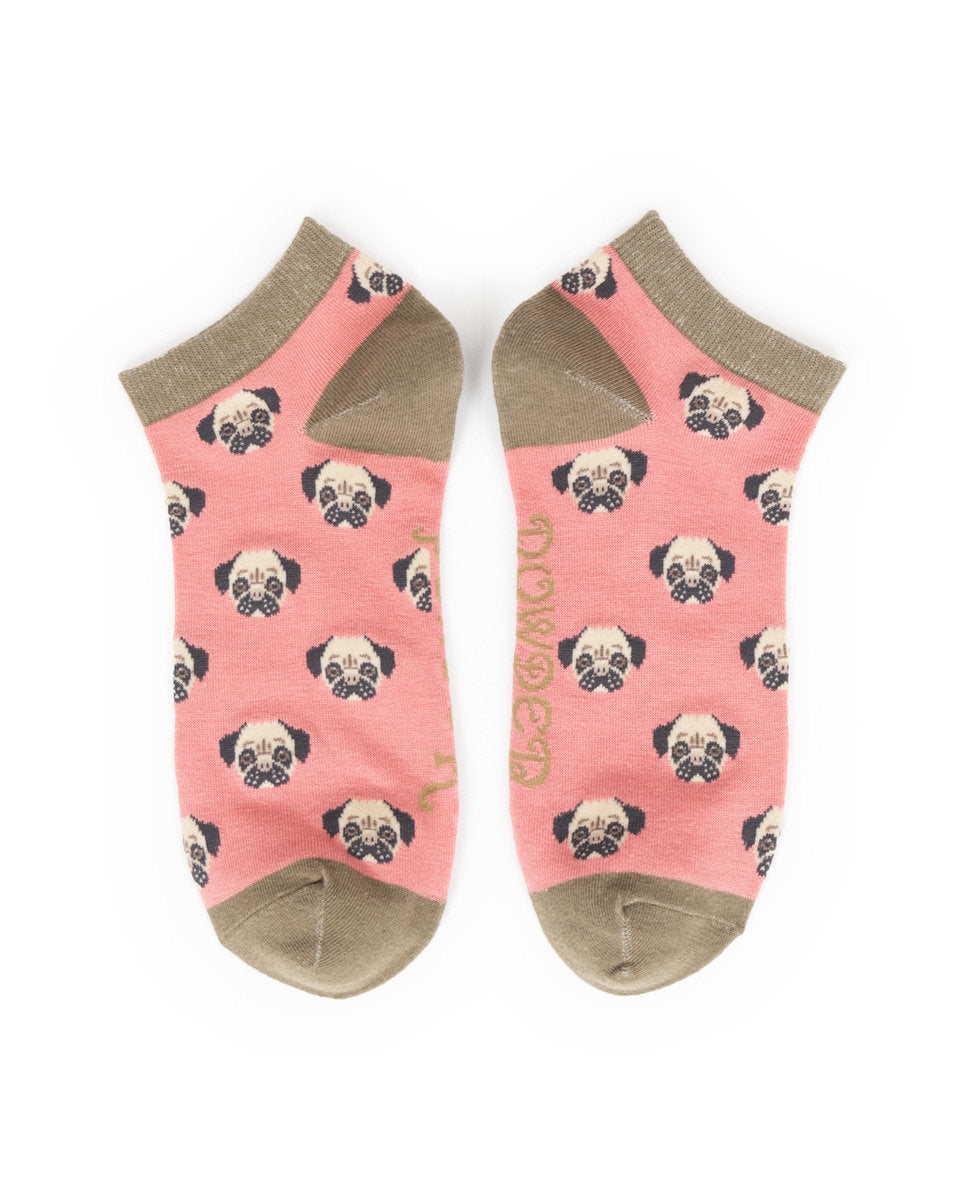 Powder Candy Pug trainer Socks-one size