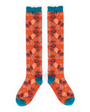 Load image into Gallery viewer, Powder leaf knee high tangerine Socks-one size
