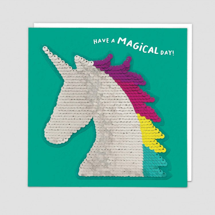 Redback shine sequins card unicorn