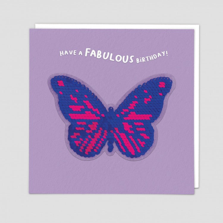 Redback shine sequins card butterfly