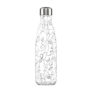 Chilly bottle 500ml line art faces