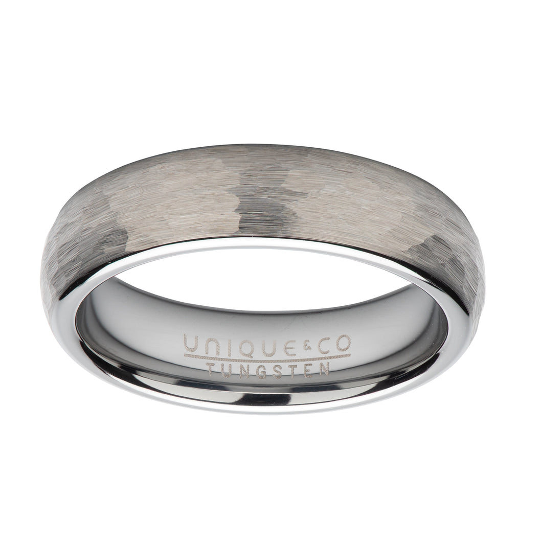 Tungsten carbide ring hammered