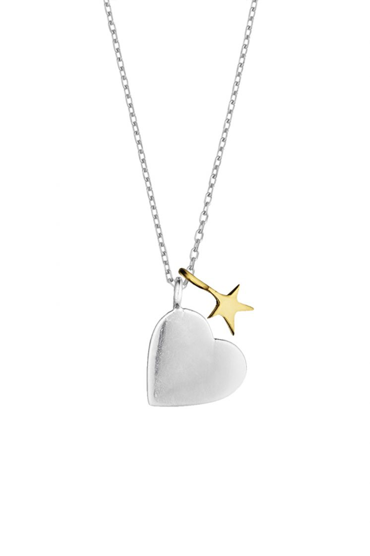 Estella Bartlett necklace -Two tones hearth and star- Silver plated