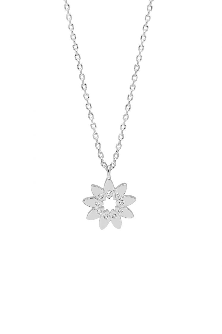 Estella Bartlett necklace -Modern cubic zirconia floral- silver plated