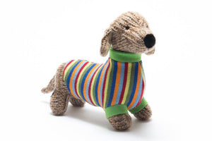 Knitted sausage dog with striped jumper toy